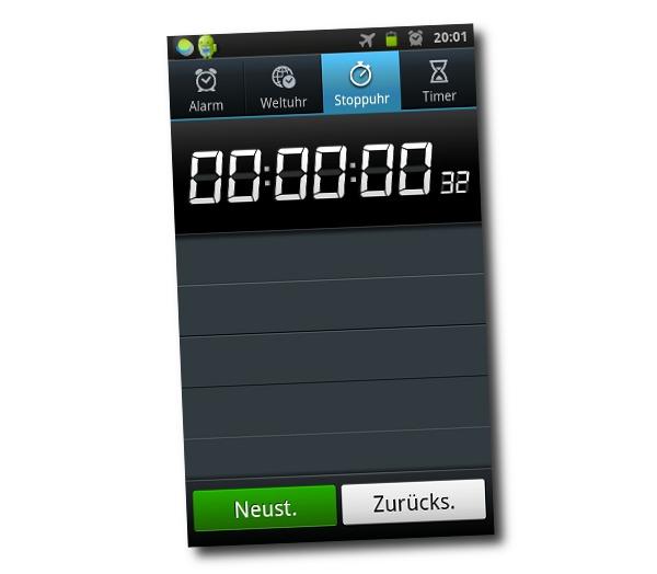 Stoppuhr Smartphone mit 32/100 einer Sekunde