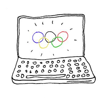 Olympia Blogging - Eine Zeichnung von Norman Palm zum Beitrag von Carsten Schlangen