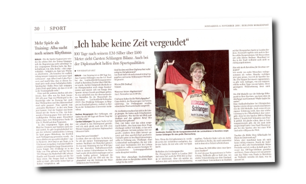 Berliner Morgenpost Interview Carsten Schlangen 100 Tage nach Barcelona