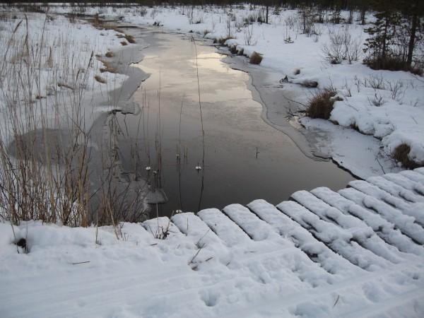 Halb zugefrorener Bach Kuontivaara Runde
