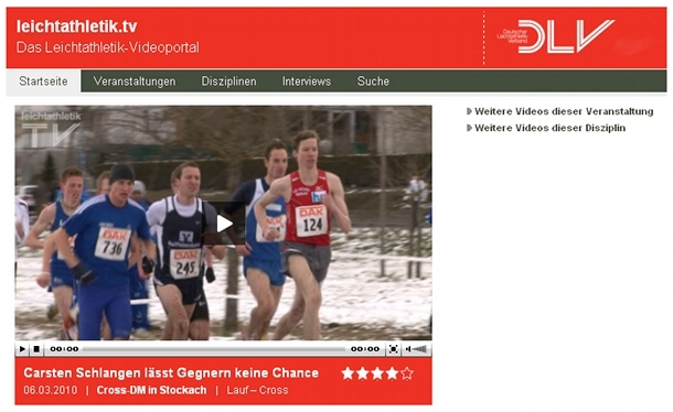 Cross DM Stockach 2010 - Video Leichtathletik.tv - Männer Mittelstrecke. Carsten Schlangen lässt Gegnern keine Chance