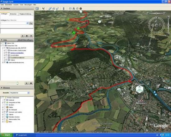 Screenshot - Emslandroute Google Earth